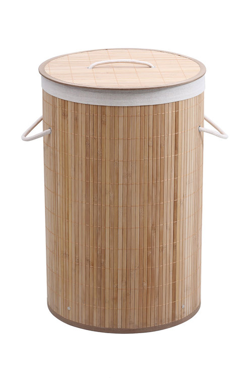 Sherwood Home Round Collapsible Bamboo Laundry Hamper With Polycotton