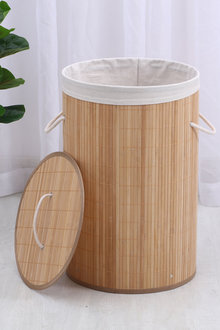 Sherwood Home Round Collapsible Bamboo Laundry Hamper With Polycotton - 292274