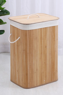 Sherwood Home Rectangular Collapsible Bamboo Laundry Hamper With - 292275