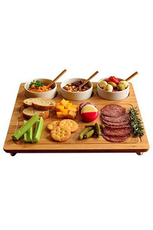Sherwood Home Bamboo Serving Platter With 3 Ceramic Dishes - 292276