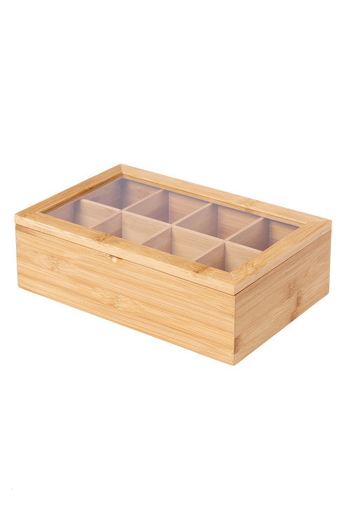 Sherwood Home Bamboo 8 Compartment Tea Box With Window