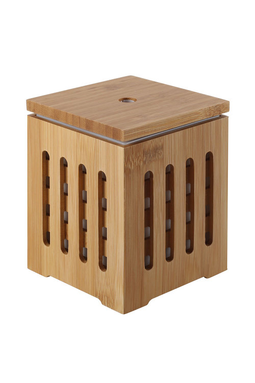Sherwood Home Bamboo Cube Zen Ultrasonic Essential Oil Diffuser With