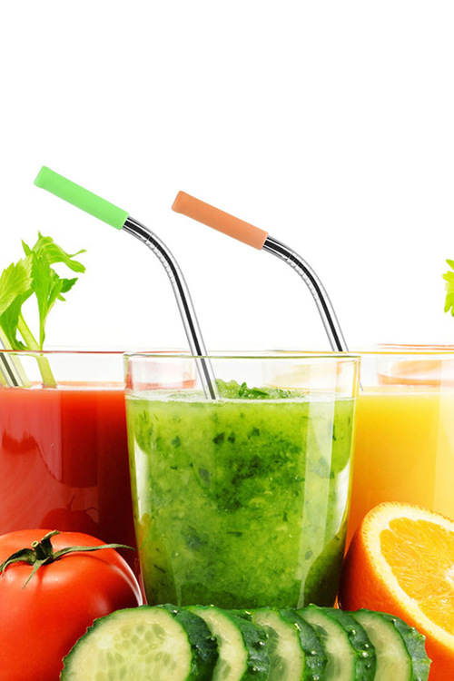 Sherwood Home 5 Piece Reusable Metal Drinking Straw Set With Silicone