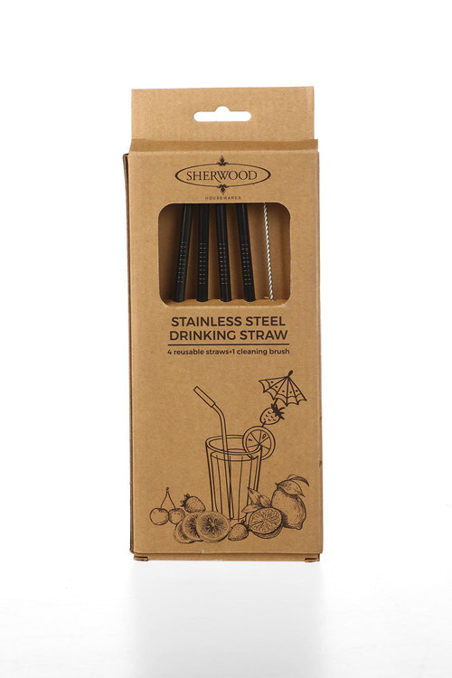 Sherwood Home 5 Piece Straight Metal Straw With Cleaning Brush