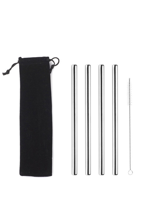 Sherwood Home 5 Piece Thick Metal Milkshake Straw Set With Cleaning