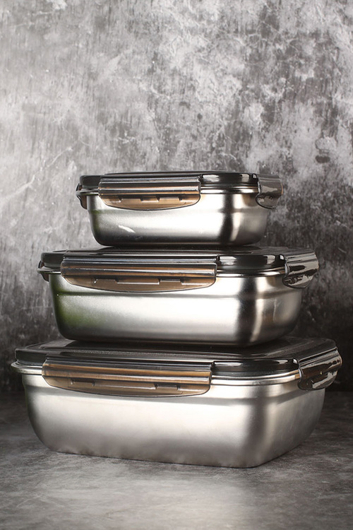 Sherwood Home Stainless Steels Food Storage Container With Air Tights