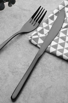 Sherwood Home Premium Black Titanium Steel 24 Piece Cutlery Set - 292308