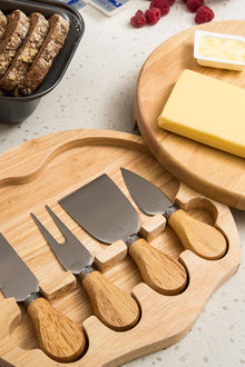Sherwood Home 4 Piece Cheese Knife Set With Wooden Board - 292313