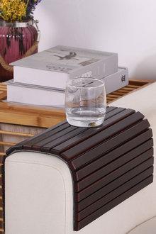 Sherwood Home Flexible Bamboo Sofa Armrest Tray With Non-Slip Base - 292316