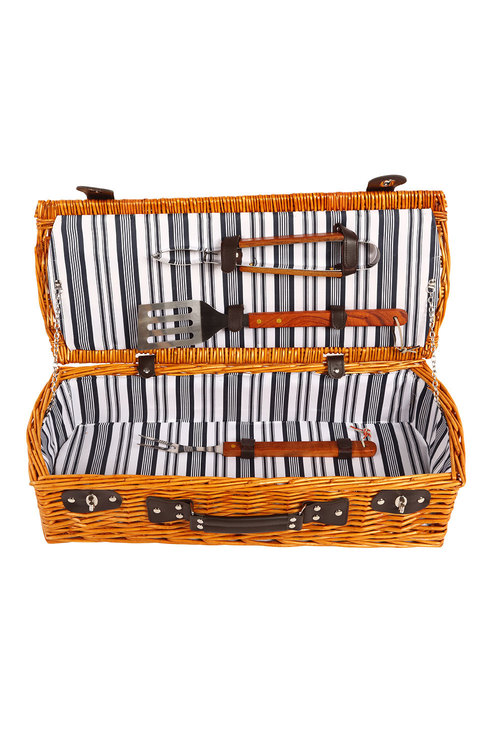 Sherwood Home Willow Wicker Barbeque Set Basket