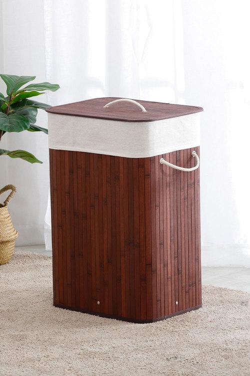Sherwood Home Tall Rectangular Folding Bamboo Laundry Hamper