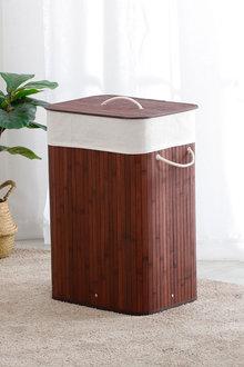 Sherwood Home Tall Rectangular Folding Bamboo Laundry Hamper - 292328