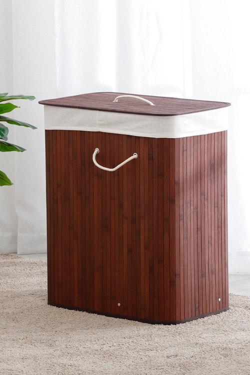 Sherwood Home Rectangular Folding Bamboo Laundry Basket 2 Section Sorter