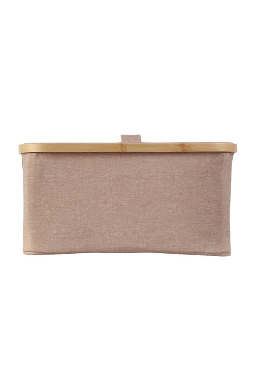 Sherwood Home Rectangular Linen and Bamboo Laundry Hamper With Cover