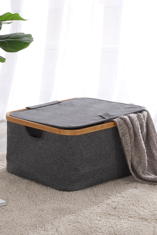 Sherwood Home Linen and Bamboo Square Laundry Bag With Cover