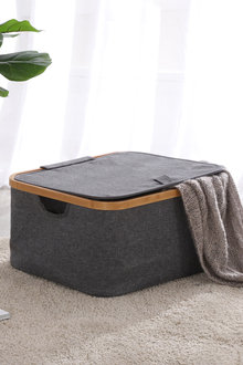 Sherwood Home Linen and Bamboo Square Laundry Bag With Cover - 292332