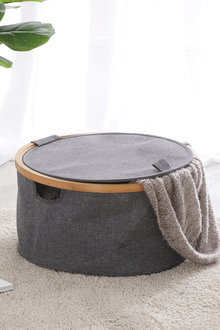 Sherwood Home Linen and Bamboo Round Laundry Bag With Cover - 292333
