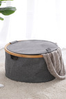 Sherwood Home Linen and Bamboo Round Laundry Bag With Cover