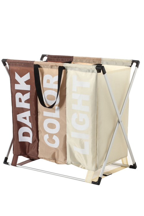 Sherwood Home Foldable Oxford 3 Section Fabric Laundry Bag