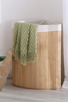 Sherwood Home Foldable Bamboo Corner Laundry Hamper - 292339