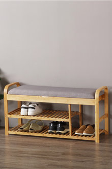 Sherwood Home Foldable Bamboo Cushioned Bench Shoe Storage 3 Tier - 292341
