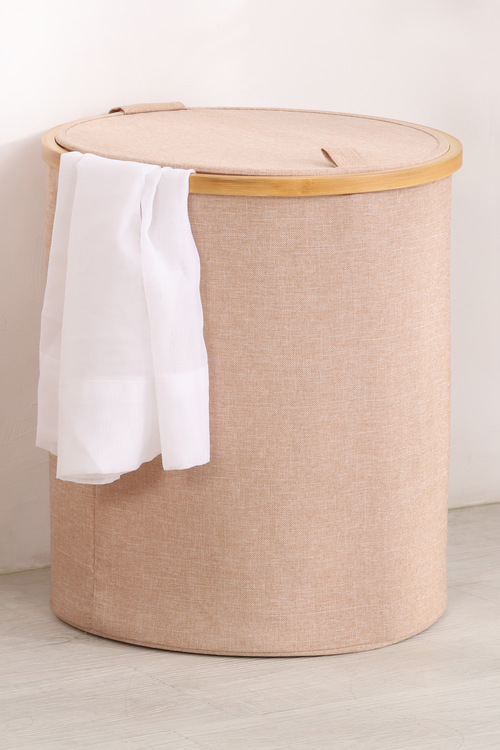 Sherwood Home Short  Round Linen and Bamboo Laundry Hamper With Cover