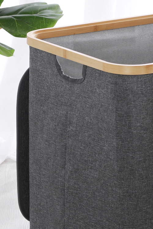 Sherwood Home Linen and Bamboo Rectangular Short Laundry Bag With Cover