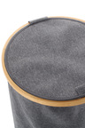 Sherwood Home Linen and Bamboo Round Short Laundry Bag With Cover