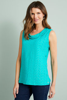 W.Lane Embroidered Cowl Neck Button Top - 292434