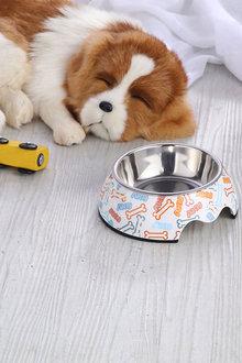 Charlies Pet Melamine Printed Pet Feeders with Stainless Steel Bowl - 292488