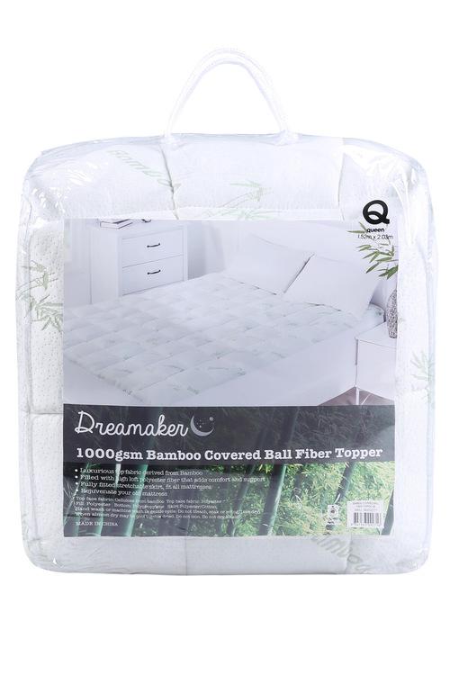 Dreamaker 1000GSM Bamboo Covered Ball Fibre Mattress Topper
