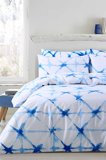 Dreamaker Shibori Printed Quilt Cover Set Faded Crosses - 292625
