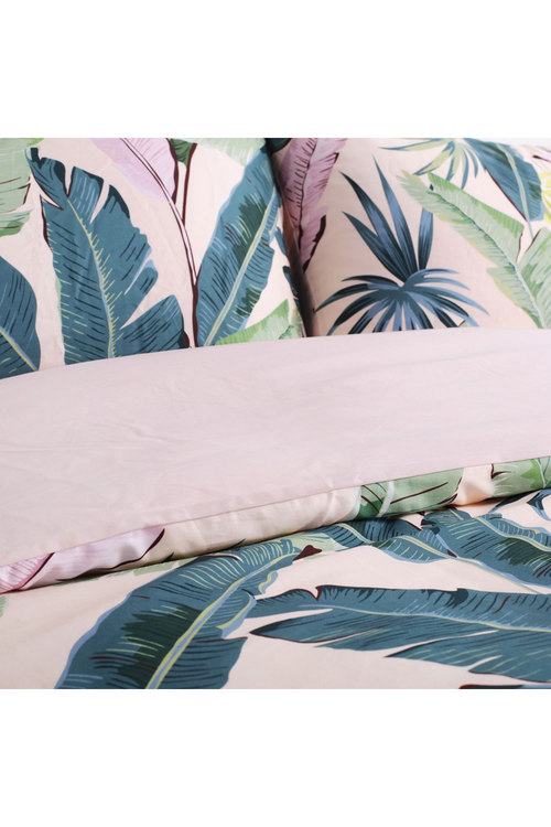 Dreamaker 300Tc Cotton Sateen Printed Quilt Cover Set Pink Banana