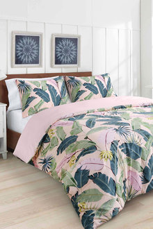 Dreamaker 300Tc Cotton Sateen Printed Quilt Cover Set Pink Banana - 292835