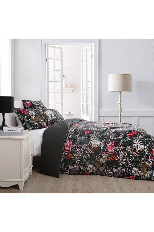 Dreamaker 300Tc Cotton Sateen Printed Quilt Cover Set Dark Jungle