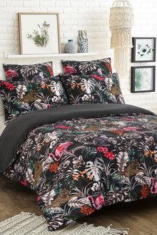 Dreamaker 300Tc Cotton Sateen Printed Quilt Cover Set Dark Jungle - 292836
