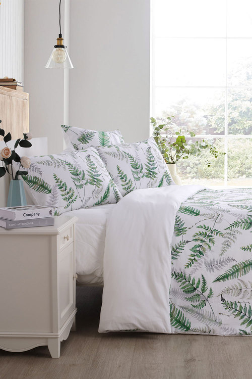 Dreamaker 300Tc Cotton Sateen Printed Quilt Cover Set Green Ferns