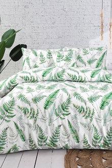 Dreamaker 300Tc Cotton Sateen Printed Quilt Cover Set Green Ferns - 292837