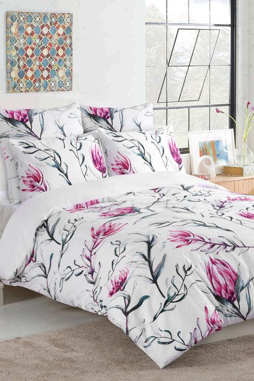 Dreamaker 300Tc Cotton Sateen Printed Quilt Cover Set Pink Artichoke