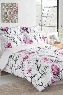 Dreamaker 300Tc Cotton Sateen Printed Quilt Cover Set Pink Artichoke - 292838