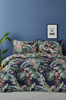 Dreamaker 300Tc Cotton Sateen Printed Quilt Cover Set Orchid Forest - 292839
