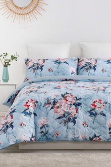 Dreamaker Velvet Digital Printing Pinsonic Quilted Quilt Cover Set Peony - 292842