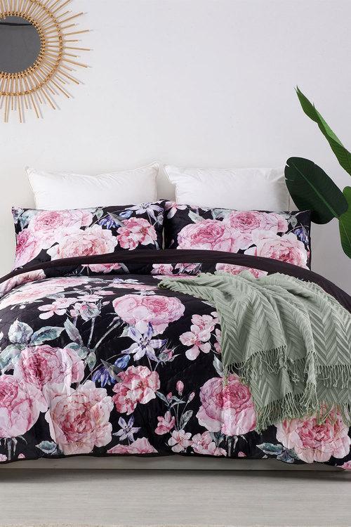 Dreamaker Velvet Digital Printing Pinsonic Quilted Quilt Cover Set Rose