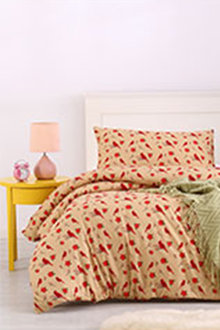 Dreamaker Printed Quilt Cover Set Tan Red Bird - 292858