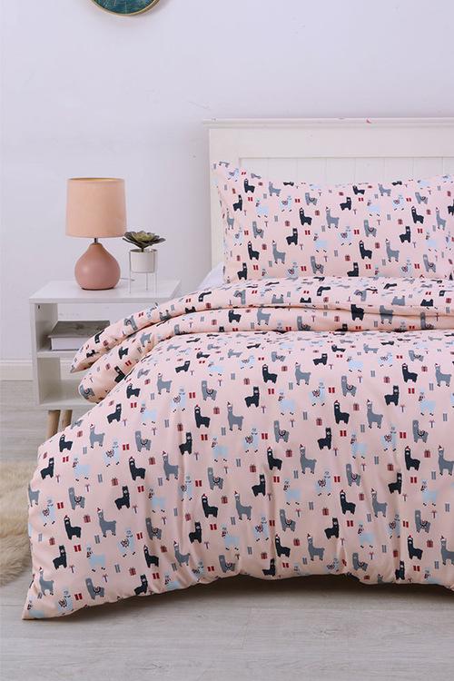 Dreamaker Printed Quilt Cover Set Blush Llamas