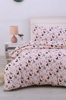 Dreamaker Printed Quilt Cover Set Blush Llamas - 292860