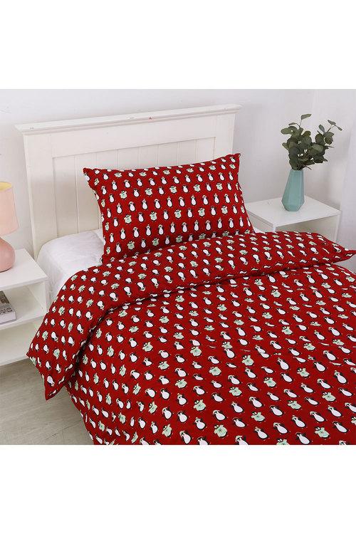 Dreamaker Printed Quilt Cover Set Red Penquins