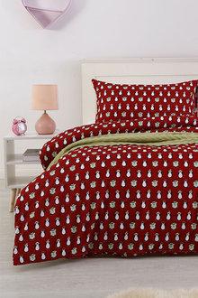 Dreamaker Printed Quilt Cover Set Red Penquins - 292861