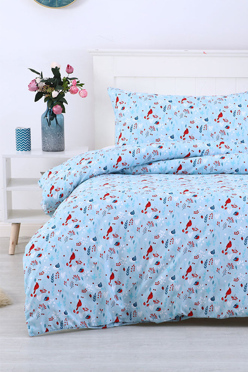 Dreamaker Printed Quilt Cover Set Little Red Birds