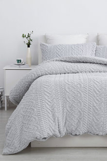 Dreamaker Tedding Fleece Pinsonic Quilted Quilt Cover Set - 292883